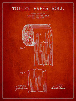 Tissue Art Drawing - Toilet Paper Roll Patent Drawing From 1891 - Red by Aged Pixel
