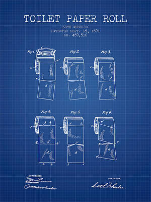 Tissue Art Drawing - Toilet Paper Roll Patent From 1891 - Blueprint by Aged Pixel
