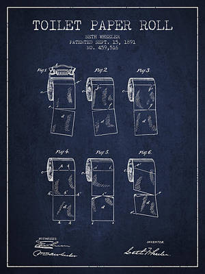 Tissue Art Drawing - Toilet Paper Roll Patent From 1891 - Navy Blue by Aged Pixel