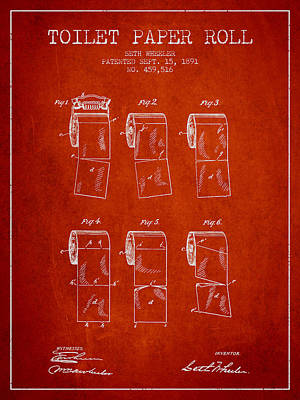 Tissue Art Drawing - Toilet Paper Roll Patent From 1891 - Red by Aged Pixel