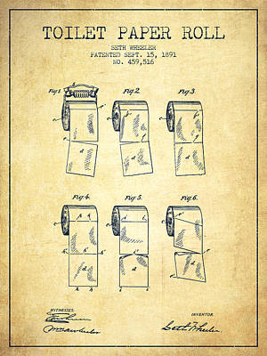 Tissue Art Drawing - Toilet Paper Roll Patent From 1891 - Vintage by Aged Pixel