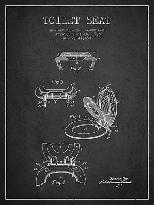 Washrooms Digital Art - Toilet Seat Patent From 1936 - Charcoal by Aged Pixel