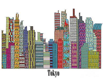 Tokyo Skyline Mixed Media - Tokyo City  by Bri B