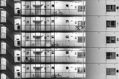 Grid Photograph - Tokyo - Five Bikes by Michael Jurek