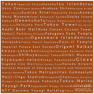 Tokyo In Words Toffee Print by Sabine Jacobs