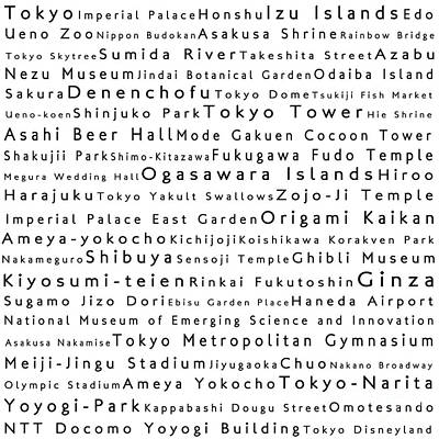 Tokyo In Words White Print by Sabine Jacobs