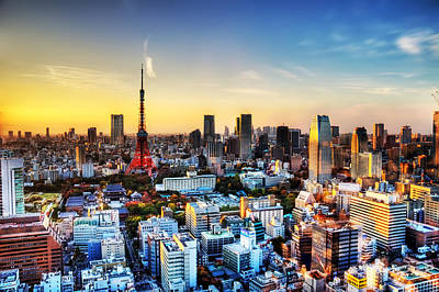 Tokyo Skyline Photograph - Tokyo Sunset by Duane Walker