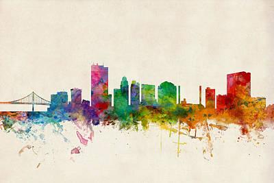 Silhouette Digital Art - Toledo Ohio Skyline by Michael Tompsett