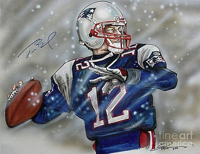 Football Drawing - Tom Brady by Dave Olsen