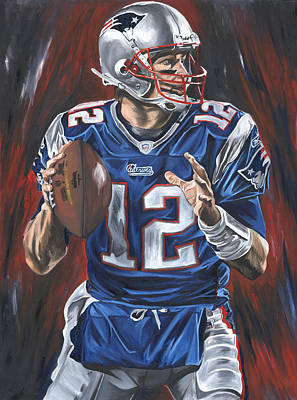 Nfl Art Painting - Tom Brady by David Courson