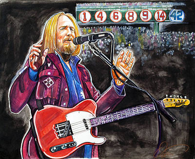 Fenway Park Drawing - Tom Petty At Fenway Park by Dave Olsen