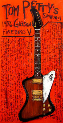 Heartbreaker Painting - Tom Petty's Gibson Firebird by Karl Haglund