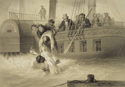 Slaves Drawing - Tom Saves Evangeline, Plate 4 by Adolphe Jean-Baptiste Bayot