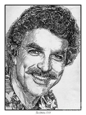 Blue And Grey Drawing - Tom Selleck In 1984 by J McCombie