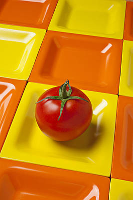 Tomato On Square Plate Print by Garry Gay
