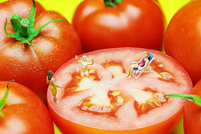 Whimsy Photograph - Tomato Swimming Pool Little People On Food by Paul Ge