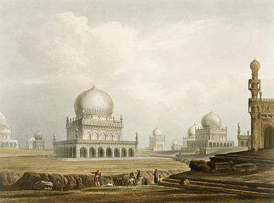Onion Domes Drawing - Tombs Of The Kings Of Golconda In 1813 by Captain Robert M. Grindlay