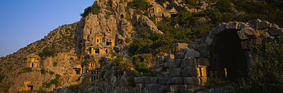 Grave Photograph - Tombs On A Cliff, Lycian Rock Tomb by Panoramic Images
