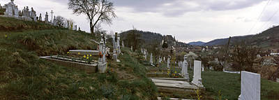 Romania Photograph - Tombstone In A Cemetery, Saxon Church by Panoramic Images