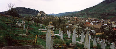 Romania Photograph - Tombstones In A Cemetery, Saxon Church by Panoramic Images