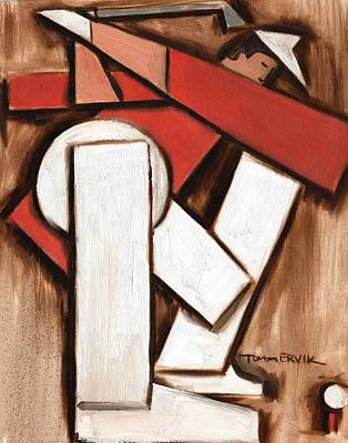Golfer Painting - Abstract Golfer Art Print by Tommervik