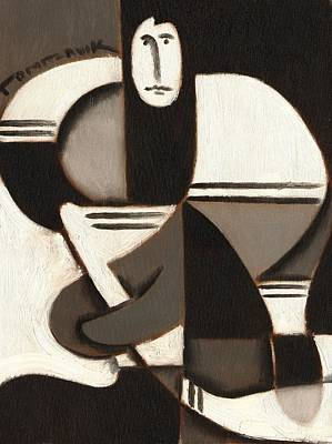 Tommervik Abstract Cubism Hockey Player Art Print Print by Tommervik
