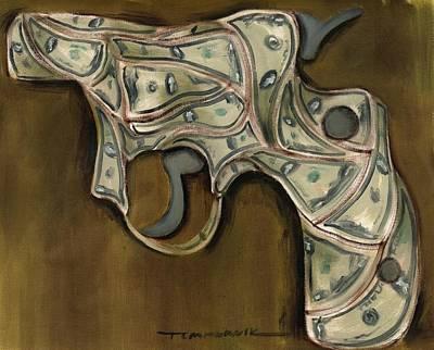 Money Painting - Tommervik Cash Gun Art Print by Tommervik