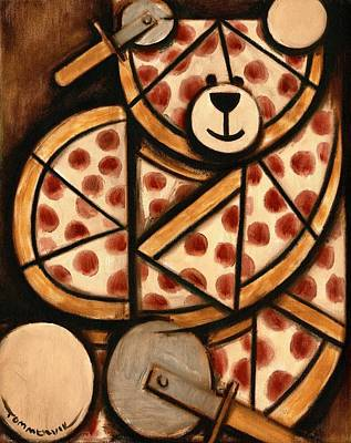 Teddy Bear Painting -  Pizza Bear Art Print by Tommervik