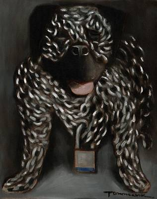 Dog Painting - Tommervik Dog Chain Art Print by Tommervik