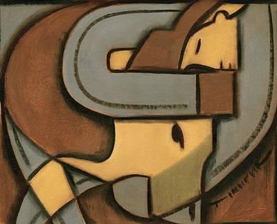 Steer Painting - Art Deco Steer Wrestling Art Print  by Tommervik
