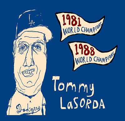 Baseball Painting - Tommy Lasorda Los Angeles Dodgers by Jay Perkins
