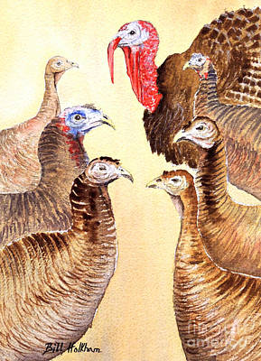 Wild Turkey Drawing - Tom's Parade by Bill Holkham