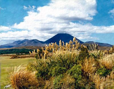 Kiwi Digital Art - Tongariro National Park New Zealand by Kurt Van Wagner