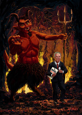 Tony Blair In Hell With Devil And Holding Weapons Of Mass Destruction Document Print by Martin Davey