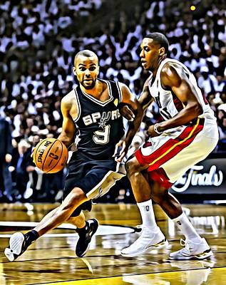 National Painting - Tony Parker Painting by Florian Rodarte