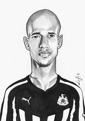 Magpies Drawing - Toon Caricature - Gabriel Obertan by Jan Szymczuk