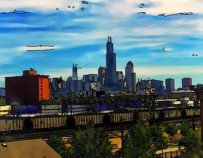 Willis Tower Digital Art - Toon Chicago From The Train Yards by Chris Flees
