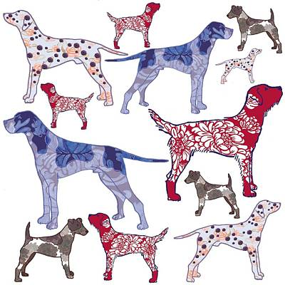 Pattern Digital Art - Top Dogs by Sarah Hough