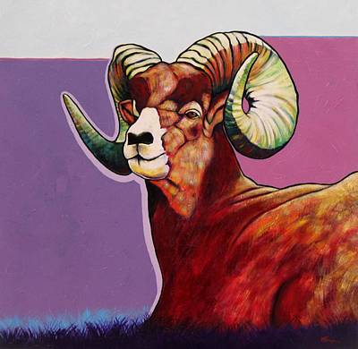 Horns Painting - Top Heavy Big Horn by Joe  Triano