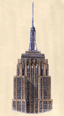 Empire State Building Drawing - Top Of Empire State Building New York City by Gerald Blaikie