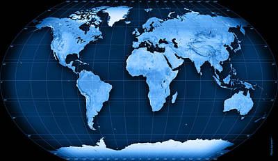 Topographic World Map Kavraisky Vii Projection Print by Frank Ramspott
