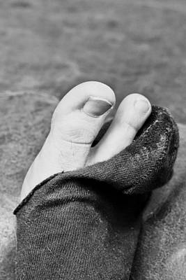 Toe Photograph - Torn Sock by Tom Gowanlock