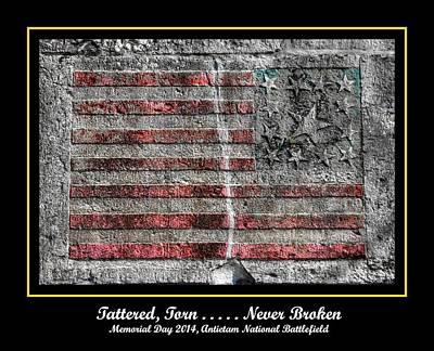 Tattered Torn . . . . . Never Broken - Memorial Day 2014 Antietam National Battlefield Print by Michael Mazaika