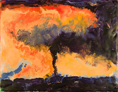 Encaustic Painting - Tornado - Ames Ia - March 30 2006 by Marilyn Fenn