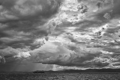 Tornado Clouds Over Lake Champlain Burlington Vermont Black And White Print by Andy Gimino