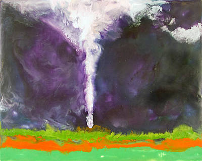 Encaustic Painting - Tornado - Parsons Kansas - April 21 2005 by Marilyn Fenn