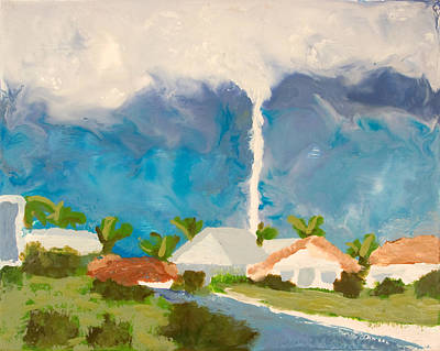 Encaustic Painting - Tornado - Punta Gorda Fl - July 15 2005 by Marilyn Fenn