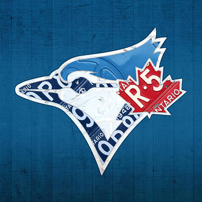 Blue Jay Mixed Media - Toronto Blue Jays Baseball Team Vintage Logo Recycled Ontario License Plate Art by Design Turnpike