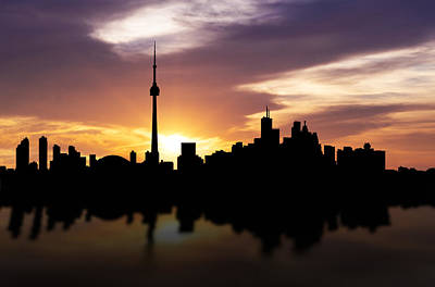 Reflections Mixed Media - Toronto Canada Sunset Skyline  by Aged Pixel