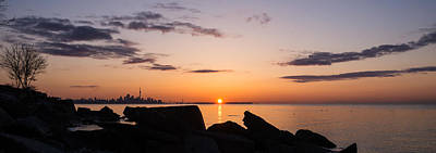 Toronto Skyline Panorama At Sunrise Print by Georgia Mizuleva